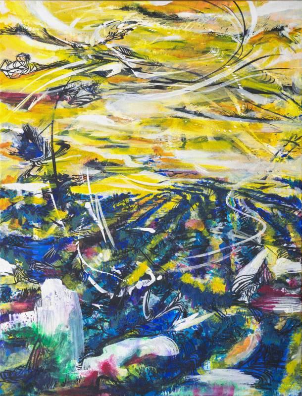 吟唱的河流9, 2017-18, 106x82cm, 壓克力、油彩、畫布