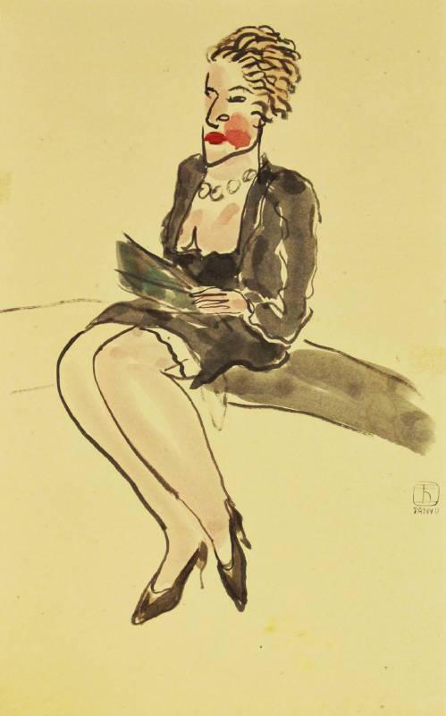 常玉,巴黎女子,48x30cm,水墨.水彩.紙本 / SANYU,Parisian woman,48x30cm,Ink&Watercolor on paper