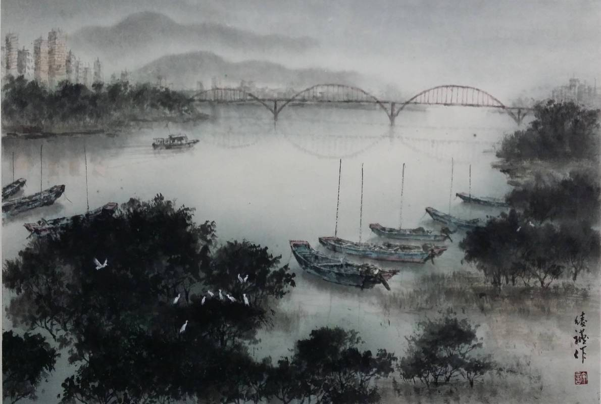 許綾讌  淡水之美 水墨 72 X 49 cm  2016