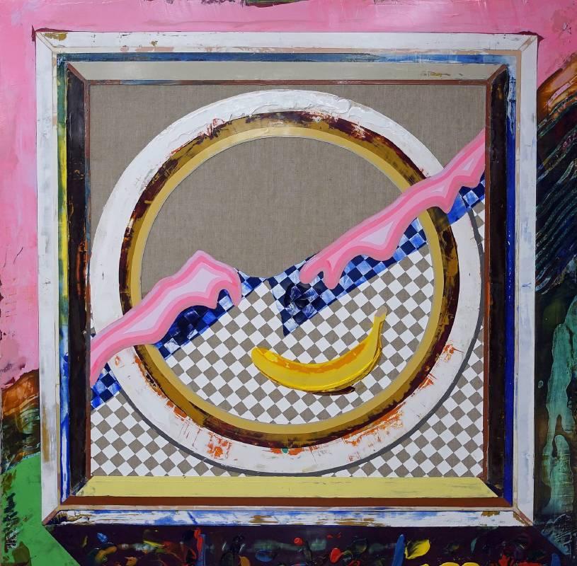 謝牧岐 Hsieh, Mu-Chi ,畫布的背後 -尷尬的笑容 Behind the canvas - Awkward smile  (  2018  壓克力顏料 畫布  Acrylic on canvas  120.0×120.0cm)  ( 心晴美術館 Wellington Gallery )