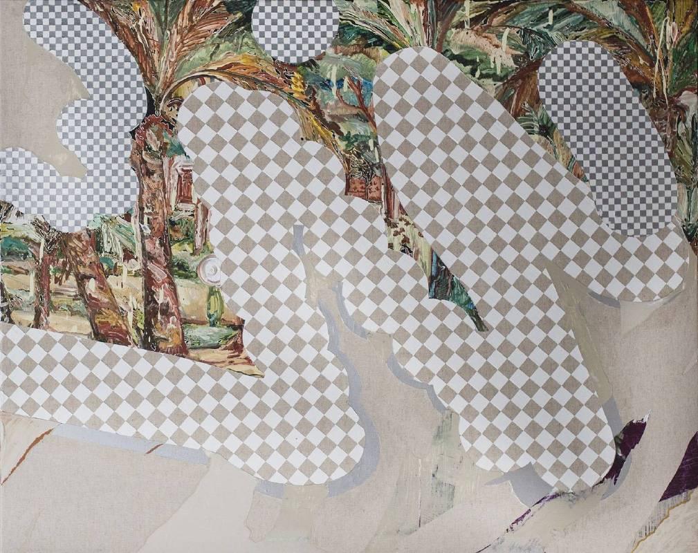 謝牧岐 Hsieh, Mu-Chi ,有背景椰子樹 Coconut tree with background (  2018  壓克力顏料 畫布   Acrylic on Canvas  91 x 116.5cm  ) ( Wellington Gallery心晴美術館 )