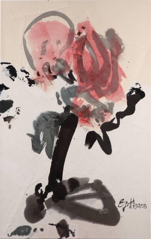 楊世芝, 不馴的水紅 The Untamed Pink, 110×70cm, 墨、天然礦物顏料、棉紙拼貼於麻布,  2013