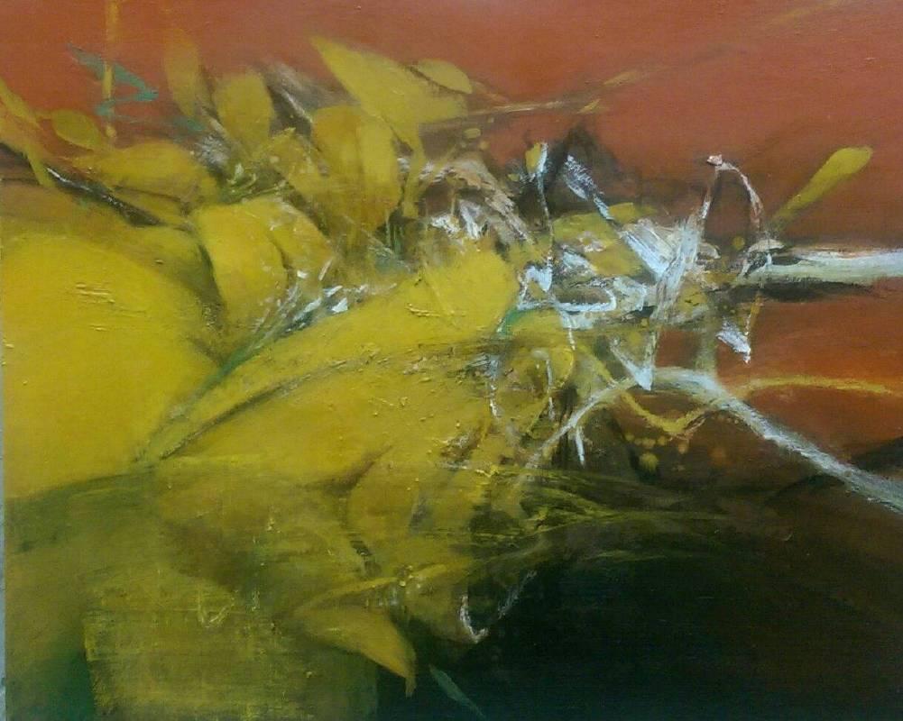 周宸 / 黃花揚Soaring Yellow Flowers ,油畫Oil on canvas,72.5x91 cm ,2016 。 圖/穎川畫廊提供
