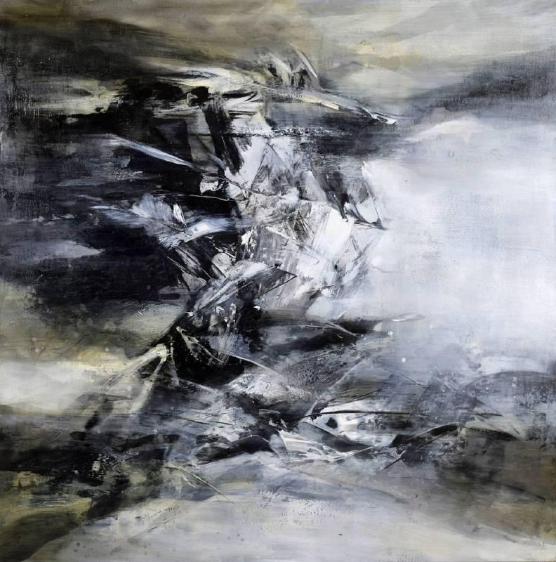 周宸 Chou Chen / 戊戌仲春十二 2018.03.28, 複合媒材Mixed media on canvas ,126x126 cm ,2018