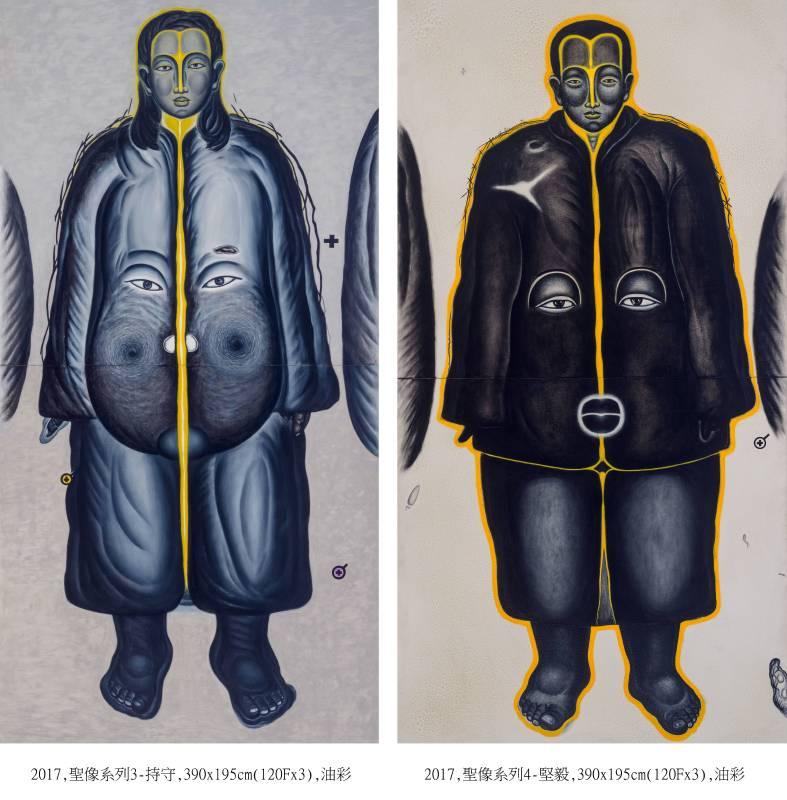 鄭建昌 2017 聖像系列3-持守、聖像系列4-堅毅 油彩畫布 194×390cm×2件
