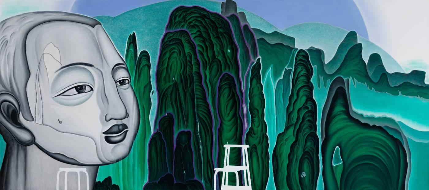 鄭建昌 2015 紫日東升 油彩畫布 582×262cm