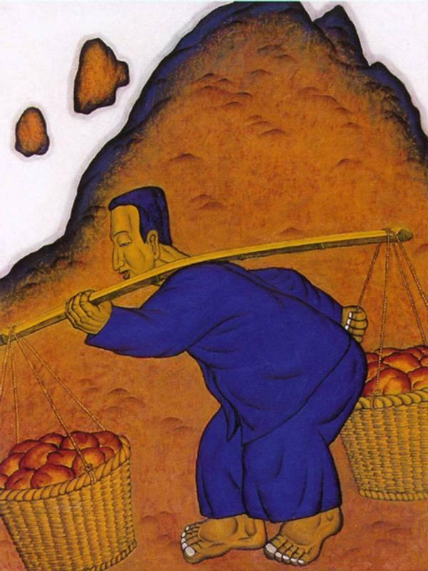 鄭建昌 1996 挑擔渡重山 油彩畫布 97×130cm