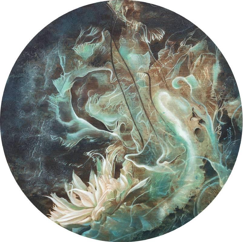 孫翼華Sun, Yi-Hua - 海蝕花 ( 2018  水墨、膠彩、壓克力、木質材料  Ø35cm ) ( 心晴美術館 Wellington Gallery ) .jpg