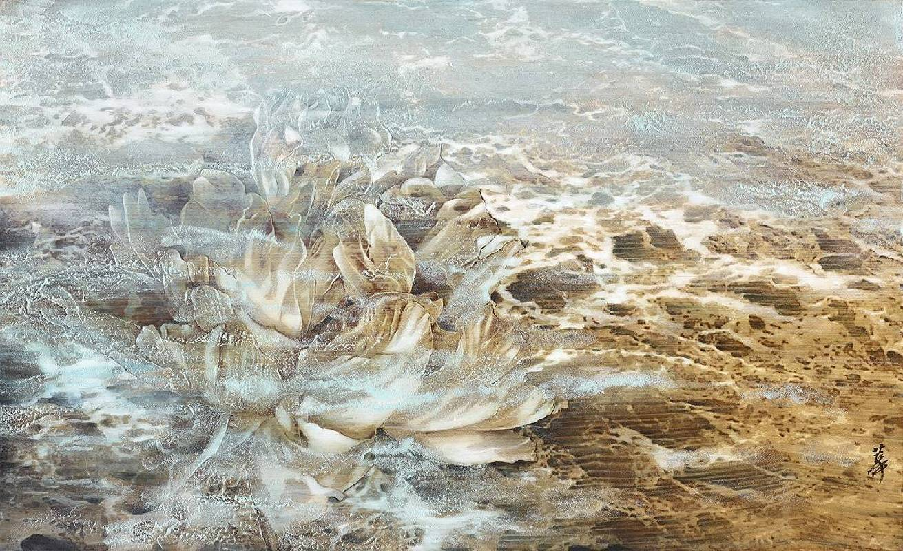孫翼華Sun, Yi-Hua -波浪花Ⅲ Flower of the WavesⅢ ( 2018  水墨、膠彩、壓克力、木質材料  35x58cm ) ( 心晴美術館 Wellington Gallery )