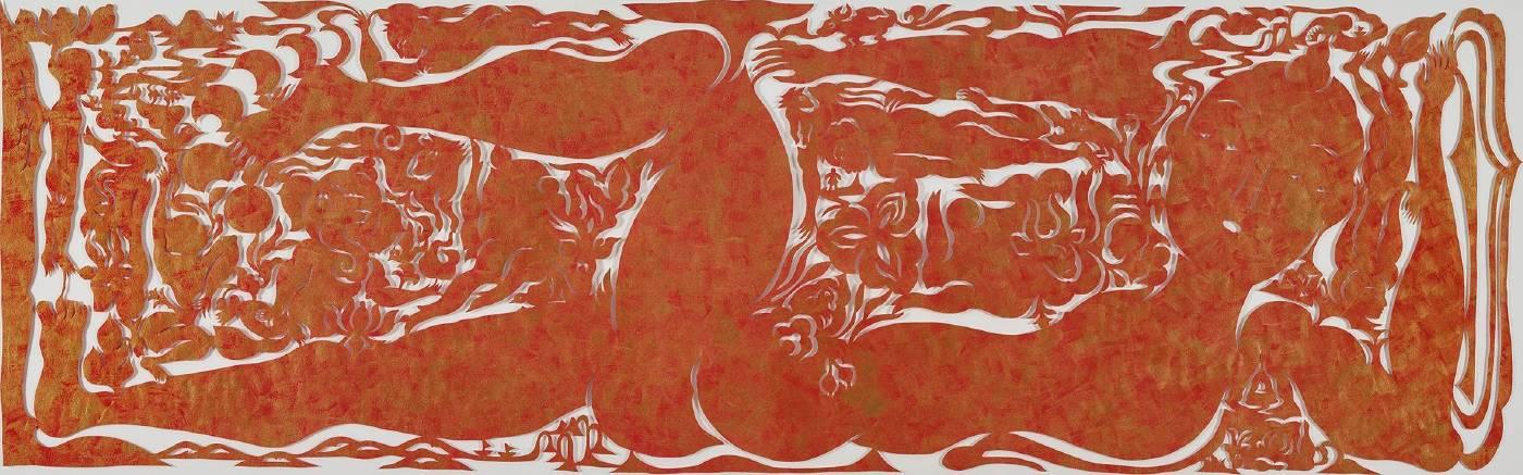吳耿禎 走河 / 紅金 2018 壓克力顏料、棉紙 ed.1/1 57×185cm