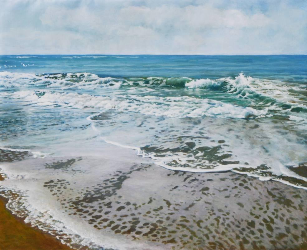 胡文賢, 海灘, 2018年, 81x100cm(40F), 油彩畫布
