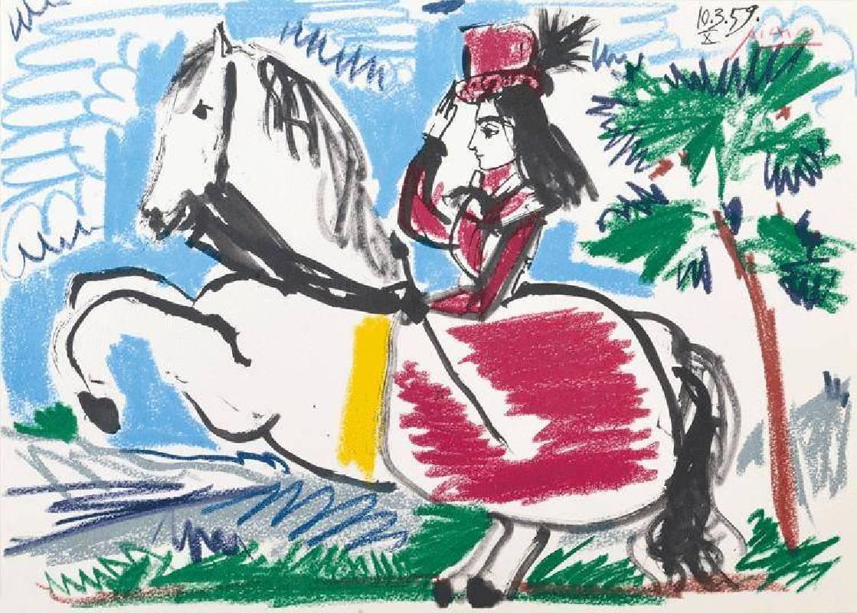 畢卡索,戴帽子的女人,石版畫,1959。