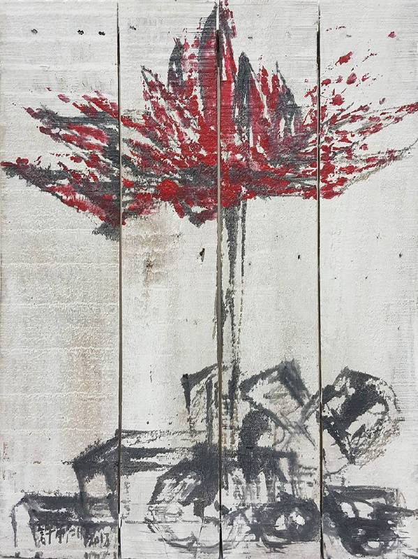 豆腐板書畫系列之十七 39.5x29.5xH5cm 豆腐板(木板)、壓克力、墨 2018