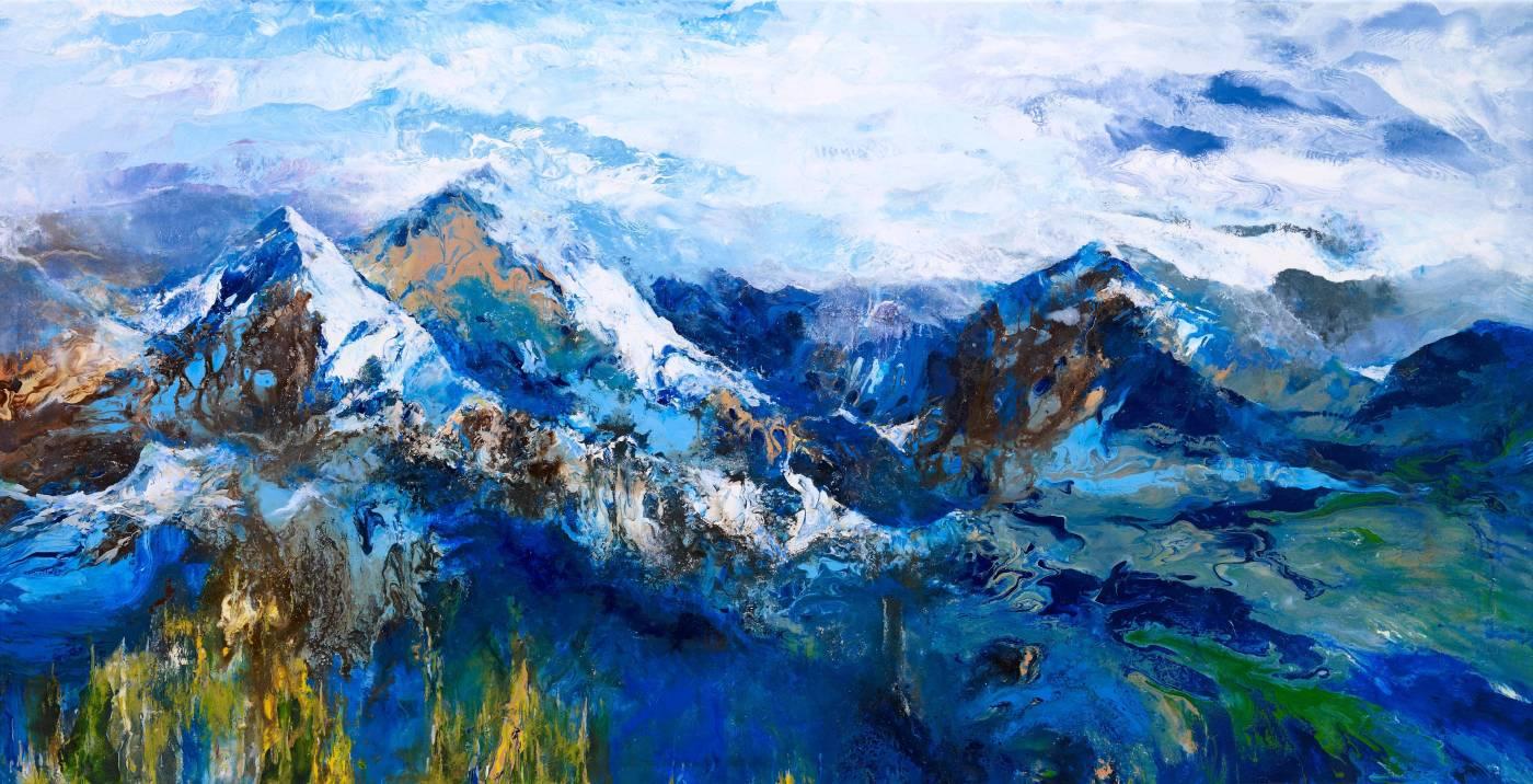 氤氳山脈 | 油畫 Oil on Canvas | 74x145x3cm | 2012