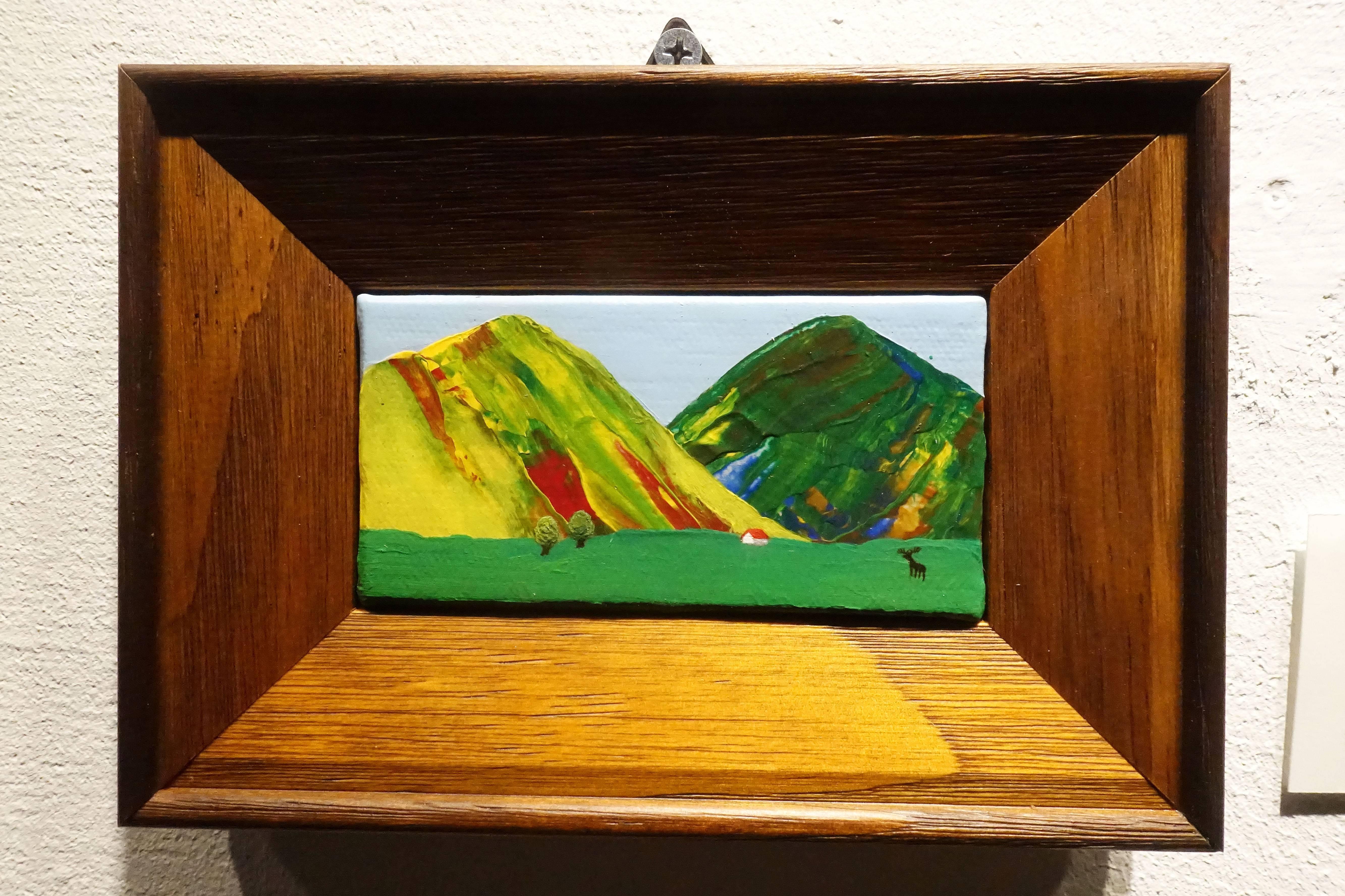 張友鷦,《山谷邊 小小版》,壓克力、油彩畫布,2018。