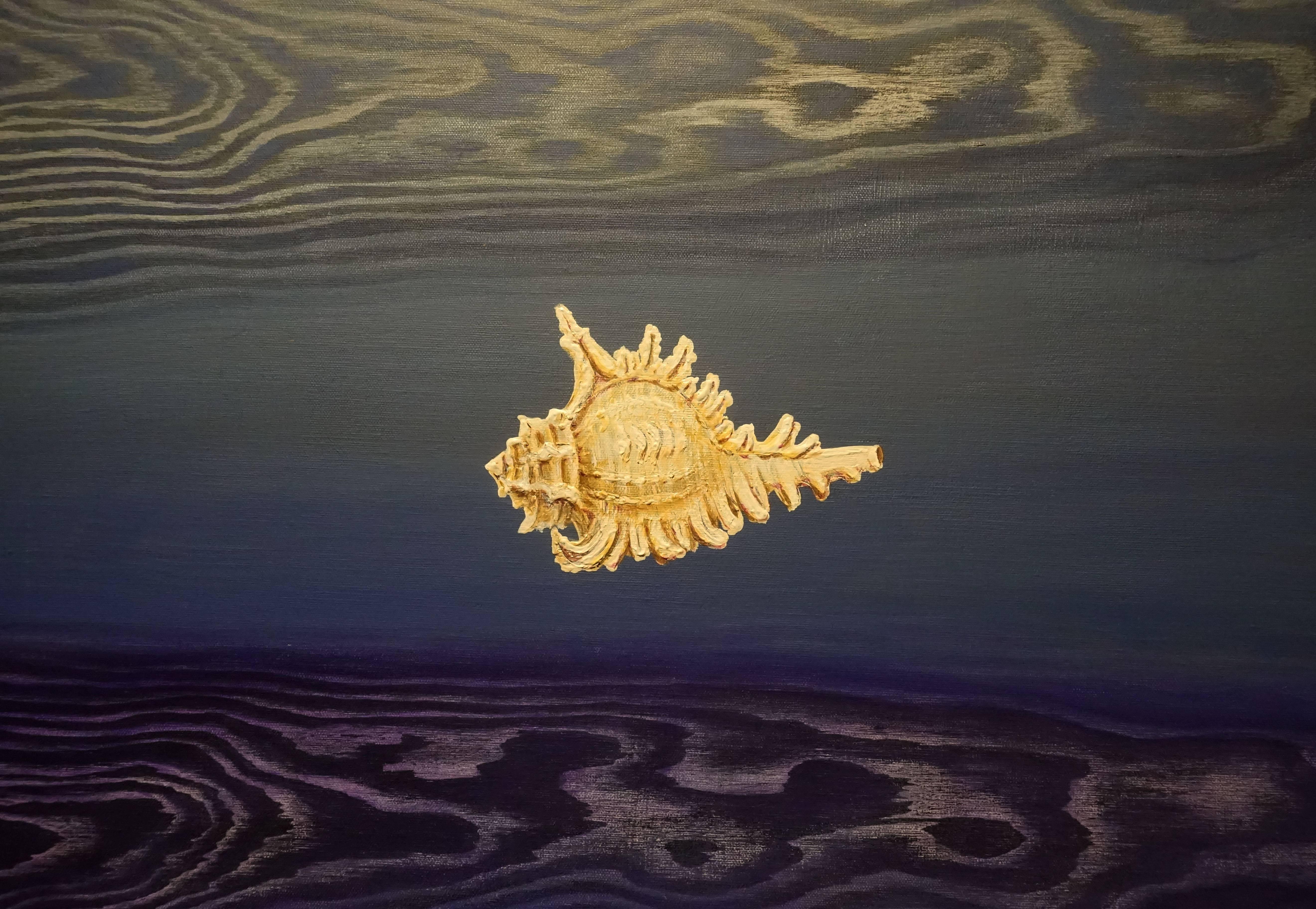 林雪卿,《聽潮 Listen to the Tide 》局部,1995 ,綜合媒材、畫布 Mixed Media。