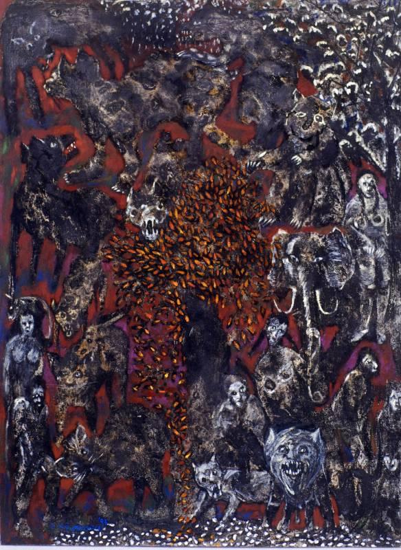 蔡獻友 世界的原始no.2 1993 油畫、墨炭 102×76cm