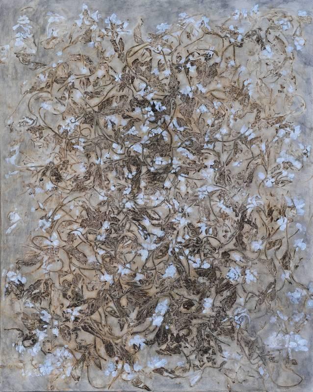 蔡獻友 桑桑-白花-11 2011 複合媒材 100×80cm