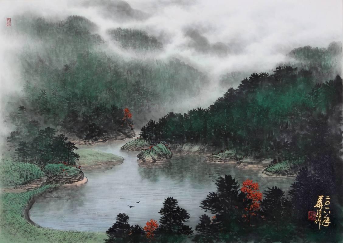 高義瑝 《宜蘭翠峰湖寫生》 2018  49x6