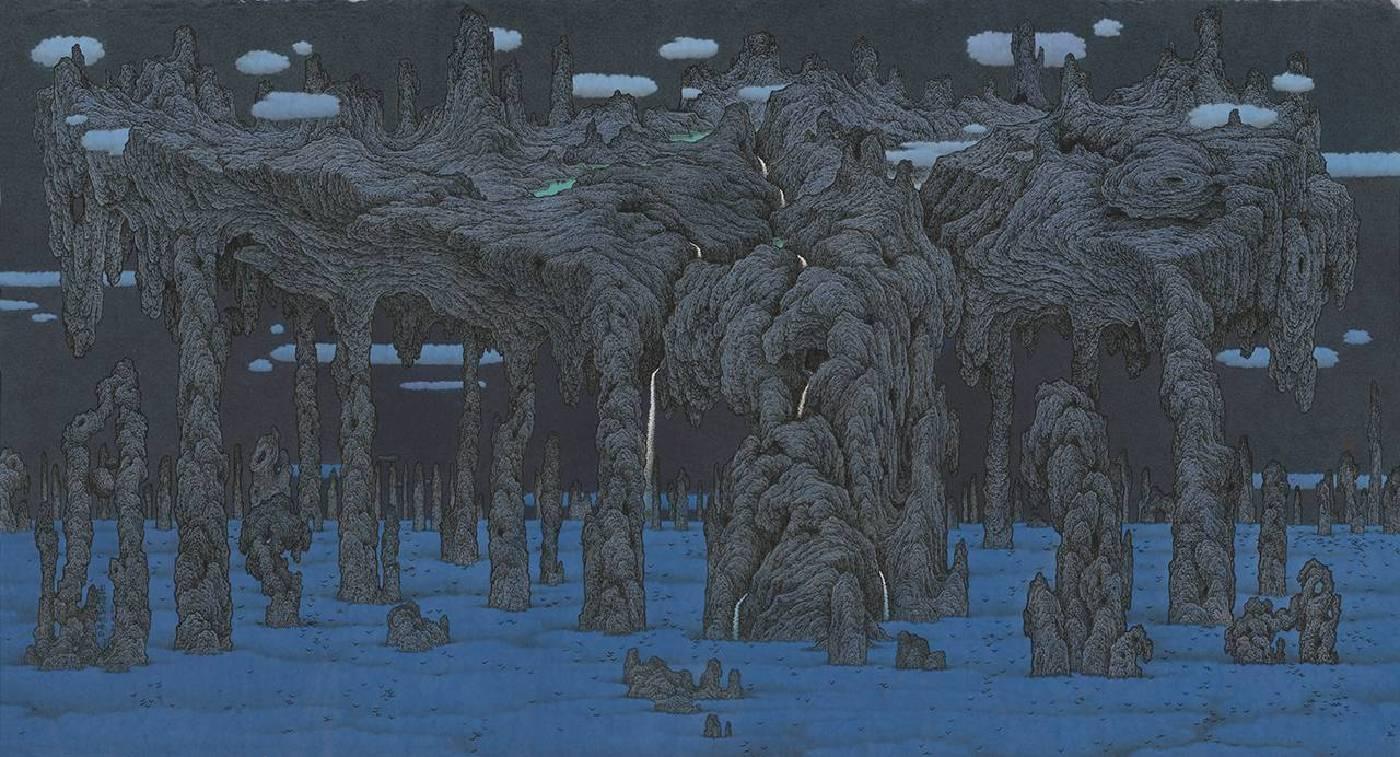 鄧卜君 藍雲上的翹獨石 76x140.5cm 紙上水墨 2018