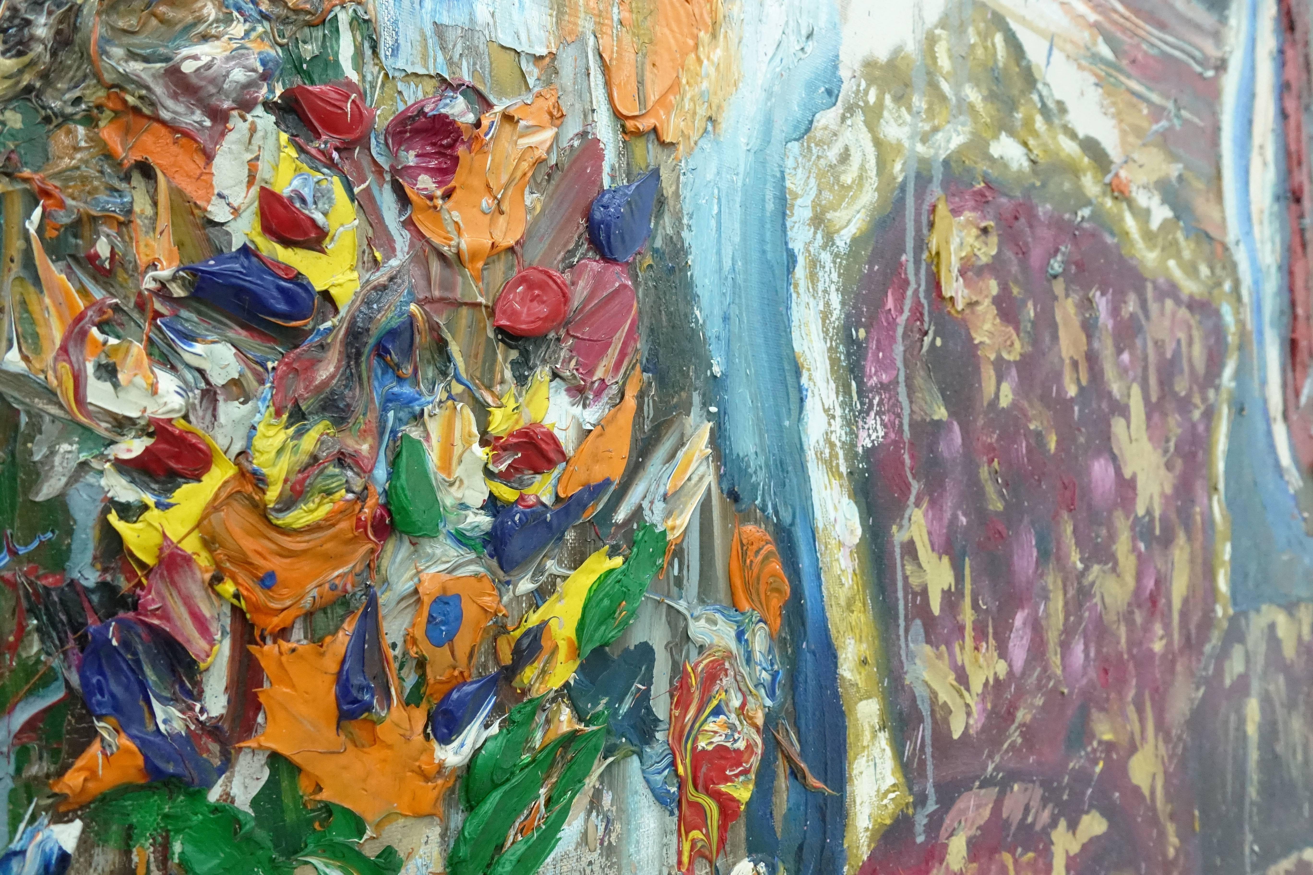 喬瑟夫・特克松(Joseph Tecson),《舞會一隅 II Interior After Party II》細節,油畫畫布,2018。