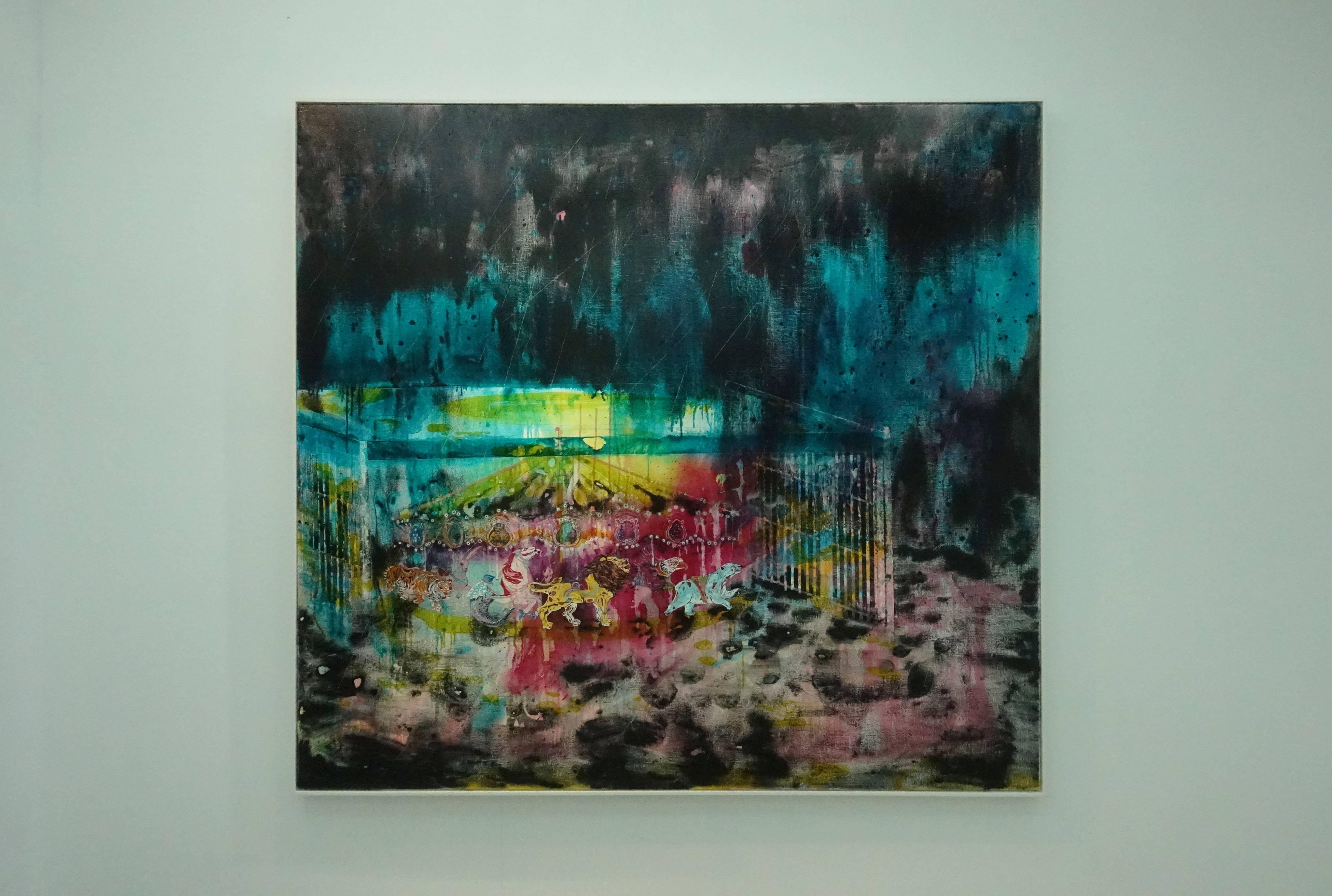 王亮尹,《霓虹的盡頭》,壓克力畫布,2018。