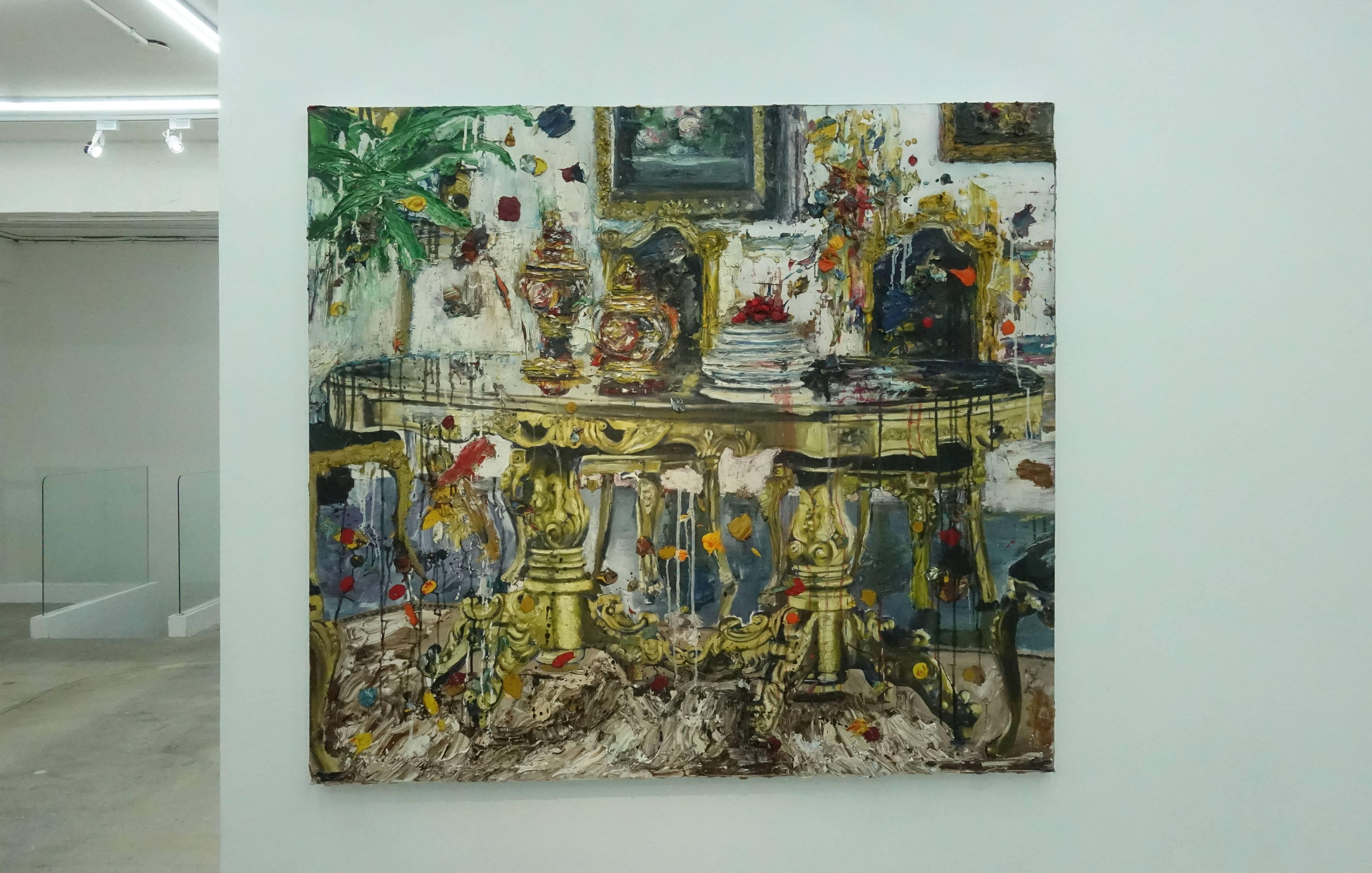 喬瑟夫・特克松(Joseph Tecson),《舞會一隅 III Interior After Party III》,油畫畫布,2018。