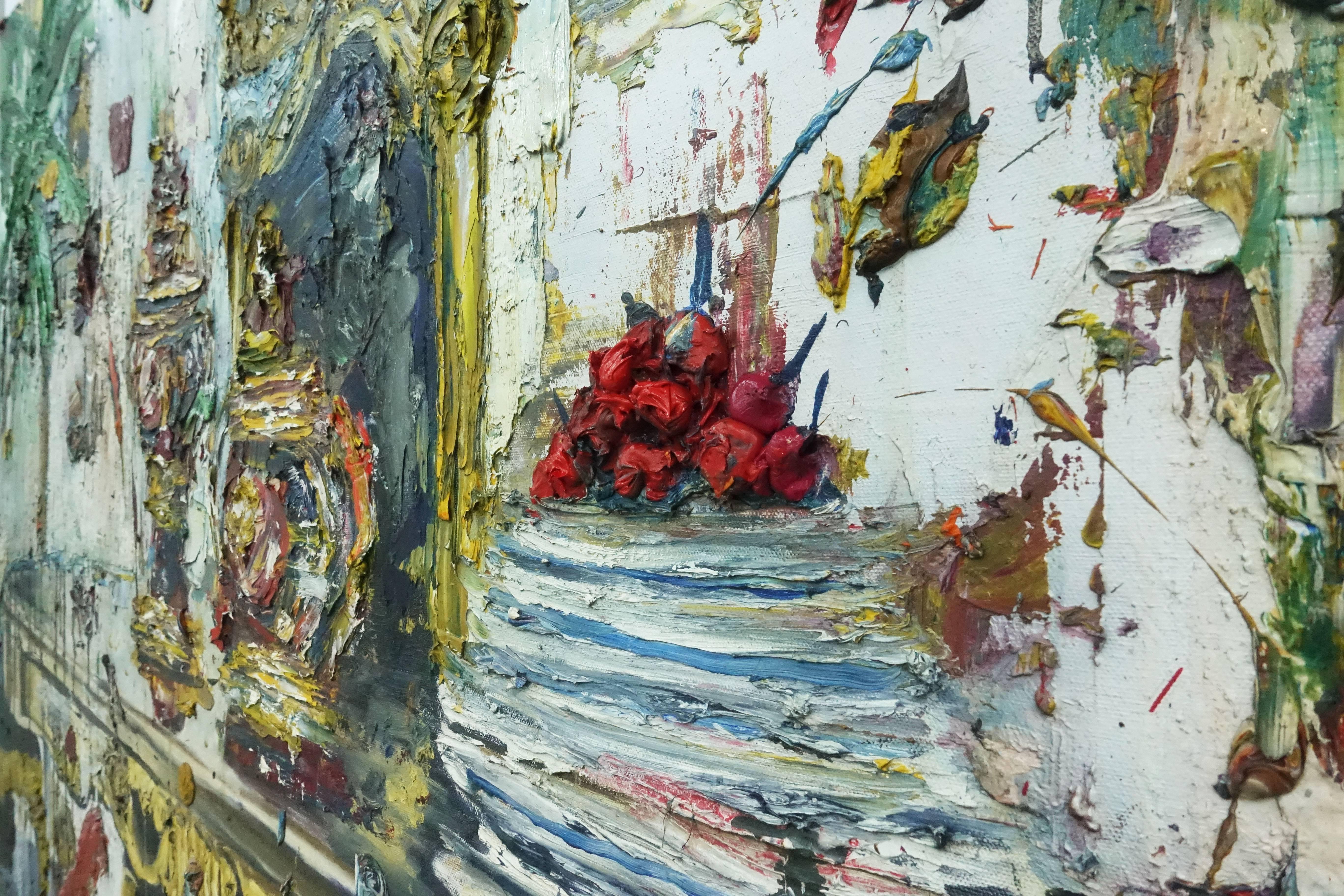 喬瑟夫・特克松(Joseph Tecson),《舞會一隅 III Interior After Party III》細節,油畫畫布,2018。