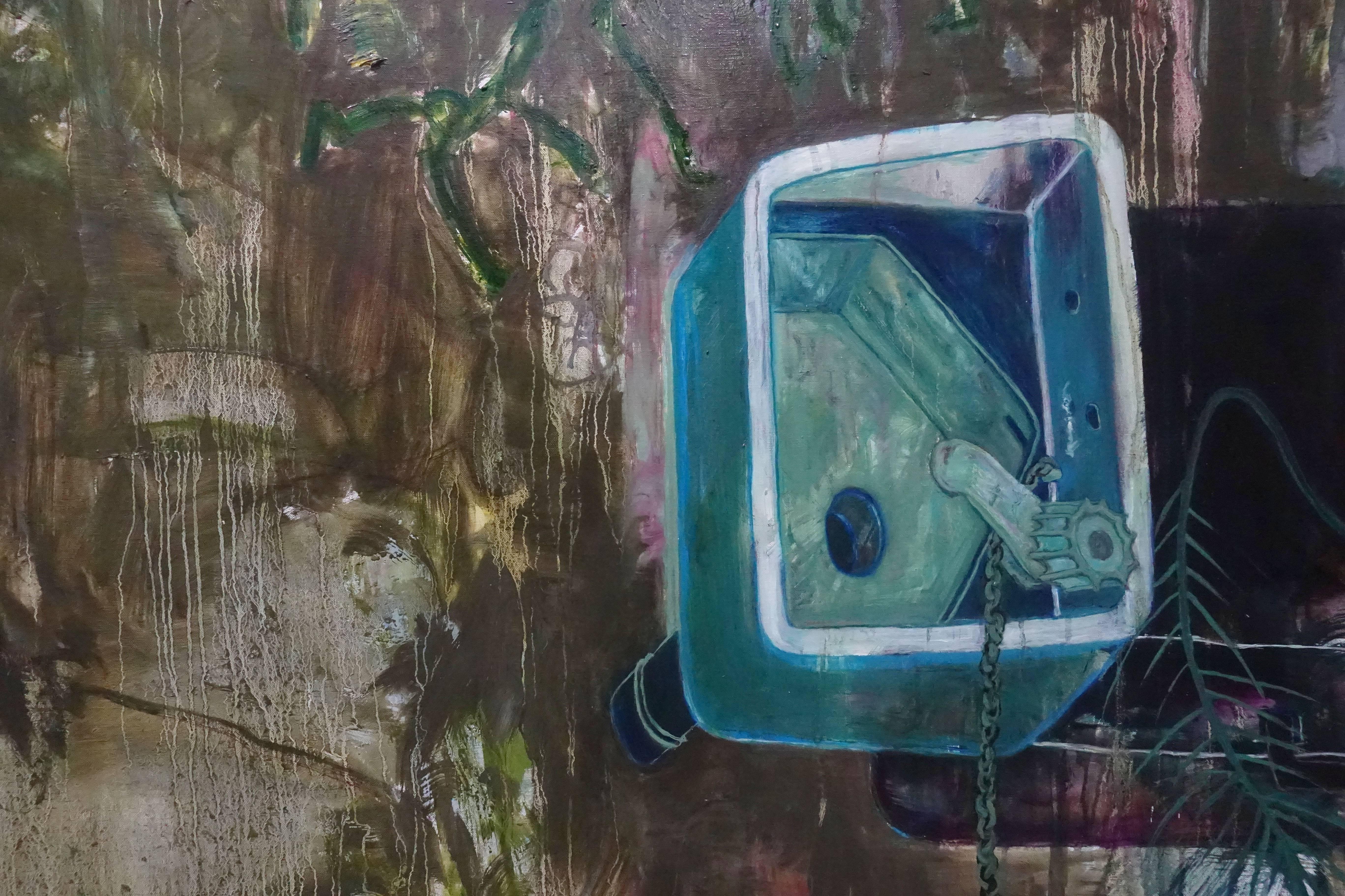 鄭婷婷,《一些戶外家具 III》局部,油畫畫布,2018。