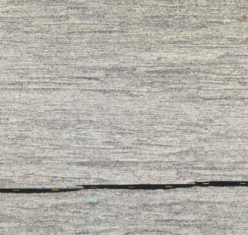 藝術家: 邱奕寧 編號:10711-008 名稱:藍色小貨車 尺寸:77 * 81.1 cm  質材:紙本水墨設色 年代:2018