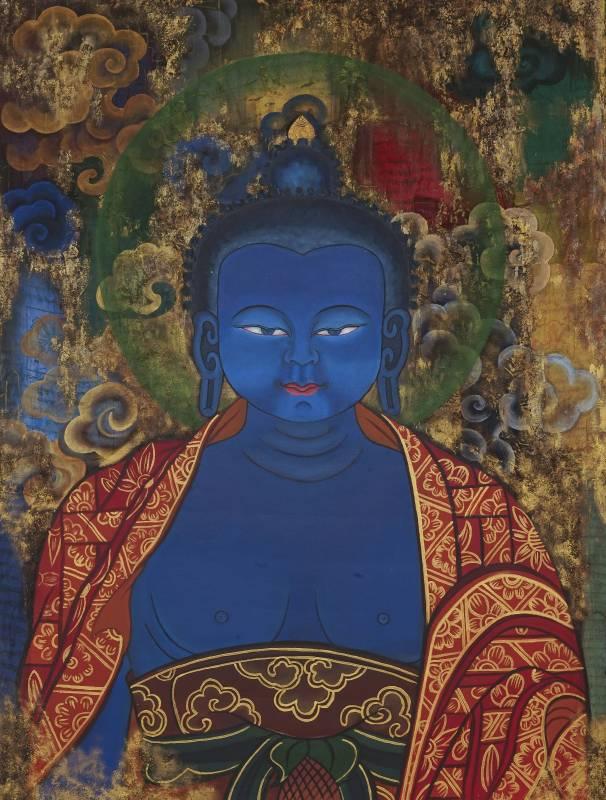 Tshering Wangchuk, Blue Buddha 藍色藥師佛 , Acrylic on canvas, 120cmX90cm, 2016.