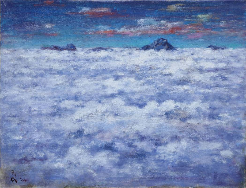 黃玉成|玉山雲海|2014|油彩|72.5x91cm