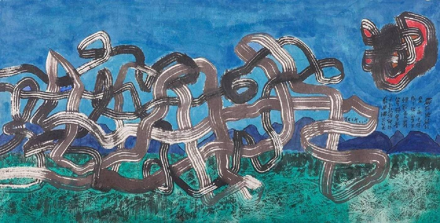楚戈《雲之舞》,水墨、壓克力、紙本,95.7×188.2cm,2002。圖/尊彩藝術中心