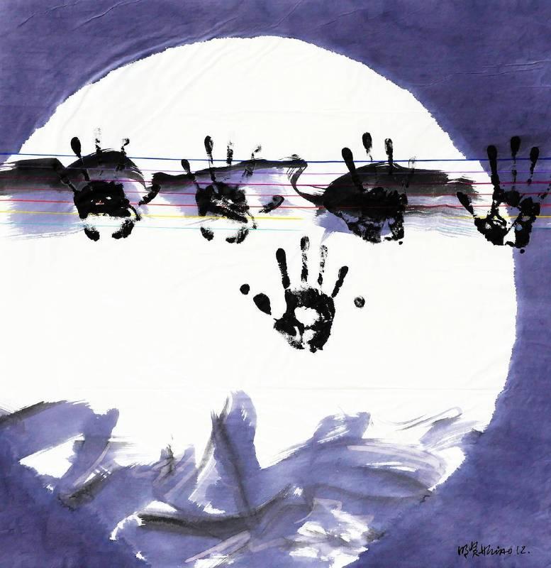 蕭明賢《明月》,彩墨棉紙,66x64cm,2012。圖/采泥藝術