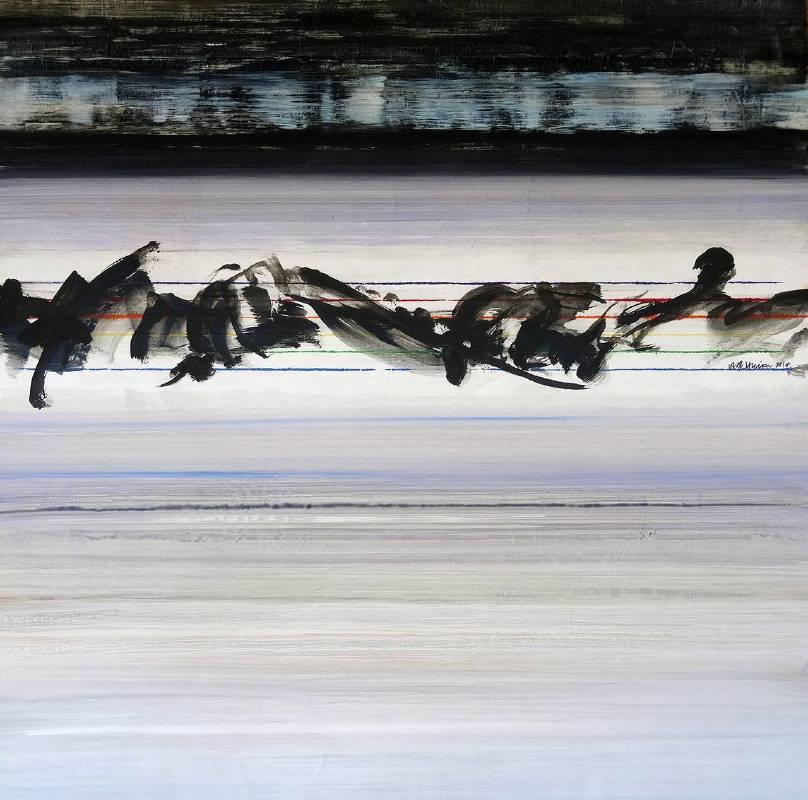 蕭明賢《時空的記憶之一》,油彩畫布,122x122cm,2014。圖/采泥藝術