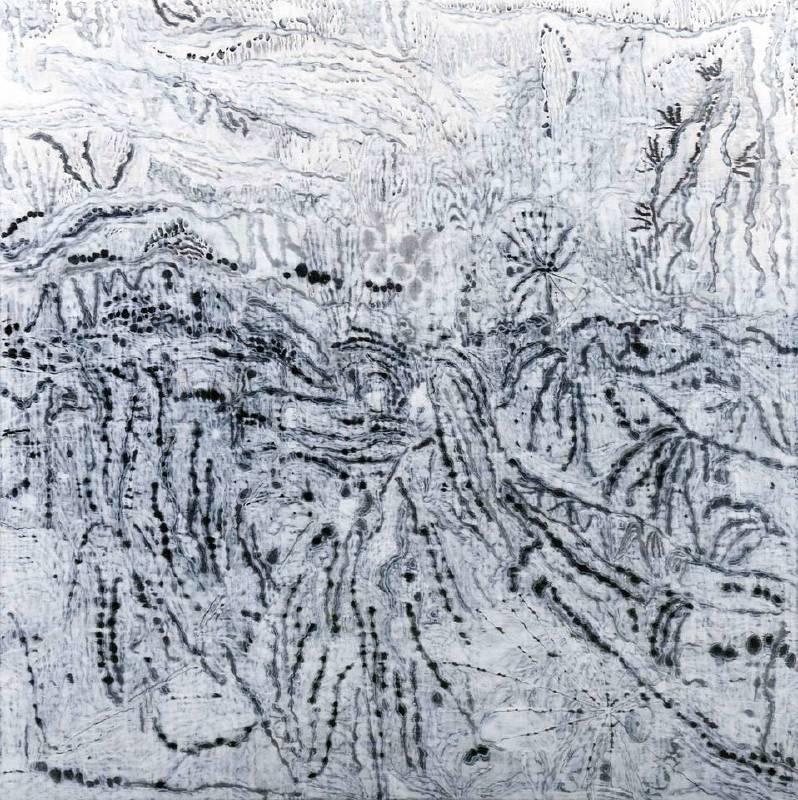 《四維時間-利嘉路口》,陳劭彥,壓克力彩、畫布,128x128cm,2016。圖/索卡藝術