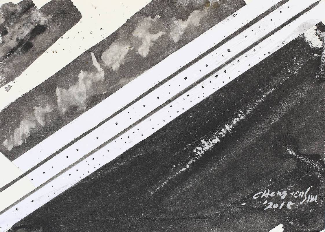 G‧草‧書 (K)複合媒材、Arches紙27x37.5cm2018