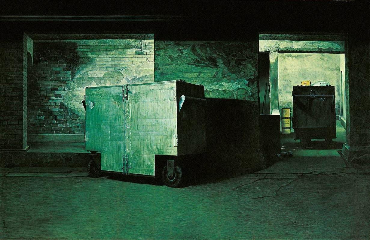 連建興|通道中的車子|1983|油彩|131x200cm