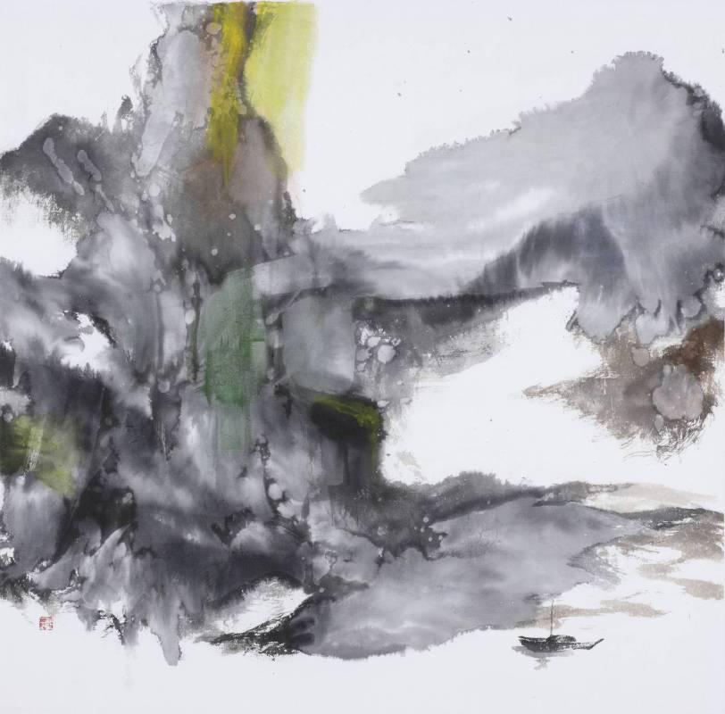 塵三Chen San ,緇 Fine, 水墨紙本設色 Colored Ink on paper ,79x80cm ,2018
