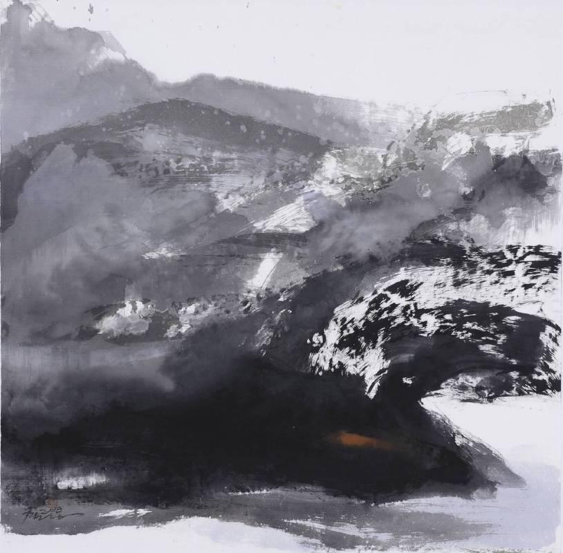 塵三Chen San ,春雪 Spring Snow, 水墨、複合媒材 Ink and mixed media ,79x79 cm ,2018