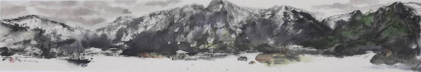 塵三Chen San ,複岳 Endless Mountains, 水墨紙本設色 Colored Ink on paper , 23.5x142 cm ,2018
