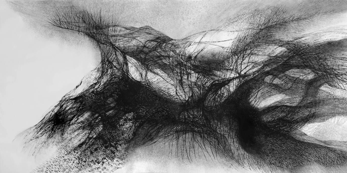 渾沌, 136 x 280 cm, 水墨、紙本, 2018