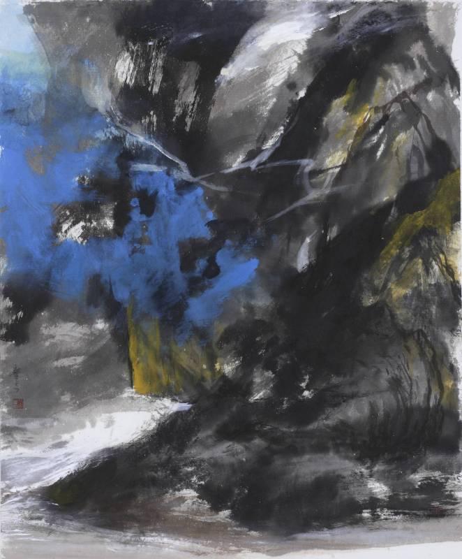 塵三Chen San ,黟 Black, 水墨、複合媒材 Ink and mixed media , 79x65 cm ,2018