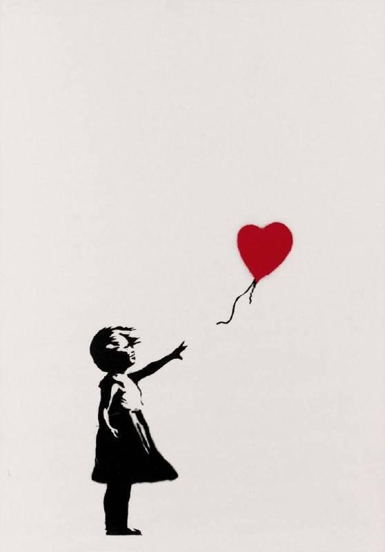 去年拍賣後自毀的2004年作品《女孩與氣球》,拍賣後改名《垃圾桶中的愛》。圖/富藝斯拍賣行提供。
