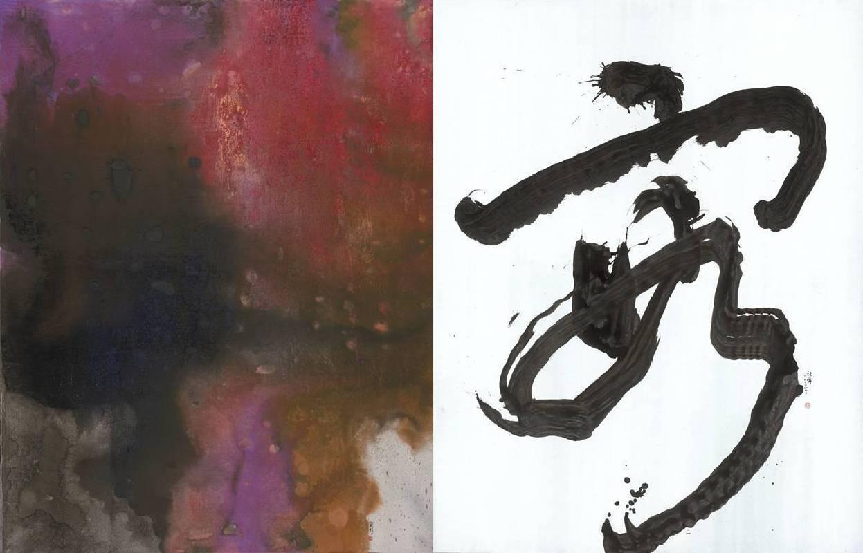 洪祝安 HONG Zhu An 容 Confluences 2018 水墨設色宣紙 Ink and color on xuan paper (左)154x120cm (右)154x120cm