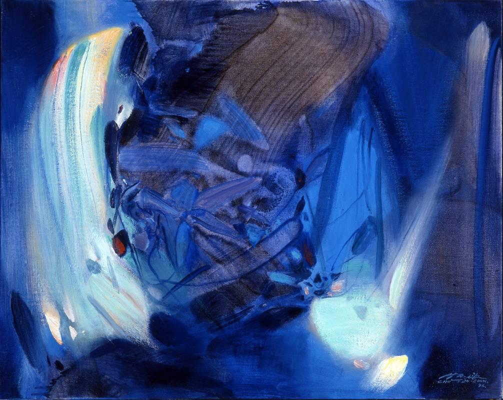朱德群|奔流的彩虹|1993|油彩|65x80cm