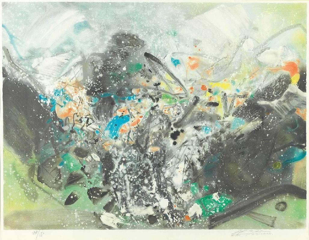 朱德群|雪景|2000-2001|石版畫|60x80cm|版數 137/150|簽名於右下