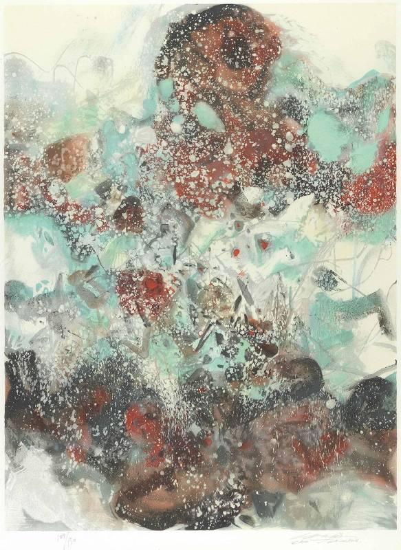 朱德群|雪景|石版畫|92x69cm|版數 129/150|簽名於右下