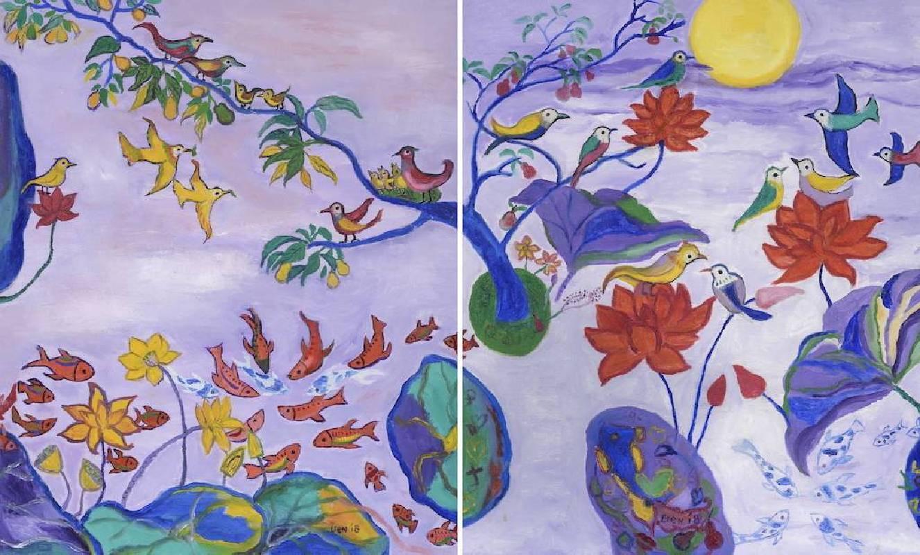 謝宏蓮,一草一世界:奇蹟、愛 2018 油彩,畫布,60.5 x 50 cm。