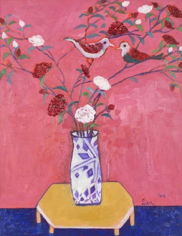 謝宏蓮,伴,2018,油彩,畫布 53 x 41 cm。